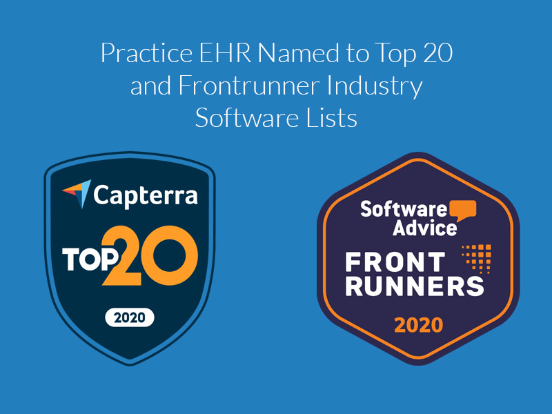 Practice EHR Named to Top 20 and Frontrunner Industry Software Lists
